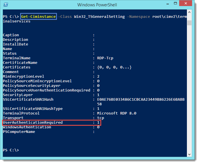 PowerShell - Get/Set the Network Level Authentication