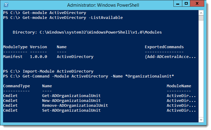 PowerShell - Get a list of my domain Organizational Units