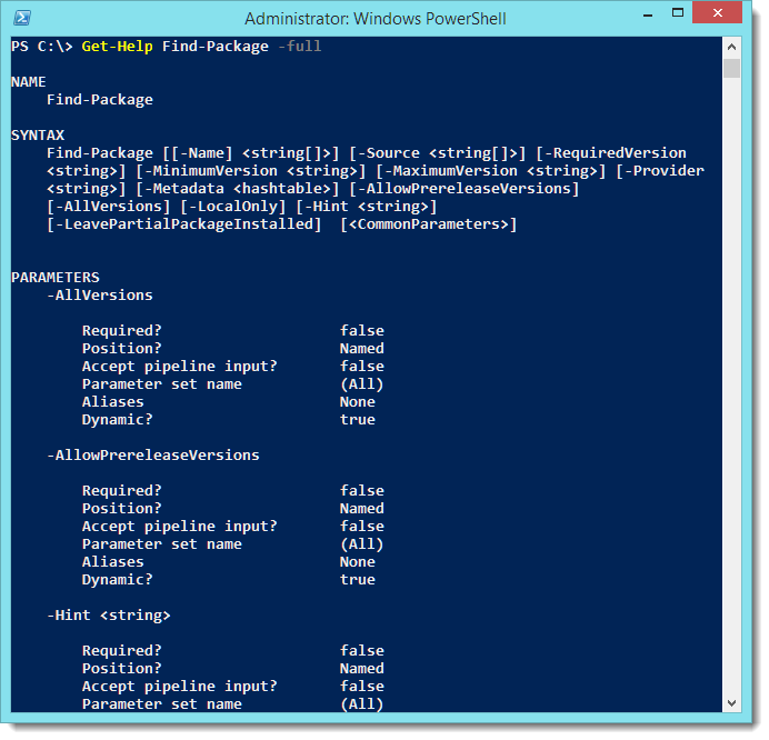 PowerShell - Playing with the new OneGet module (v5 preview