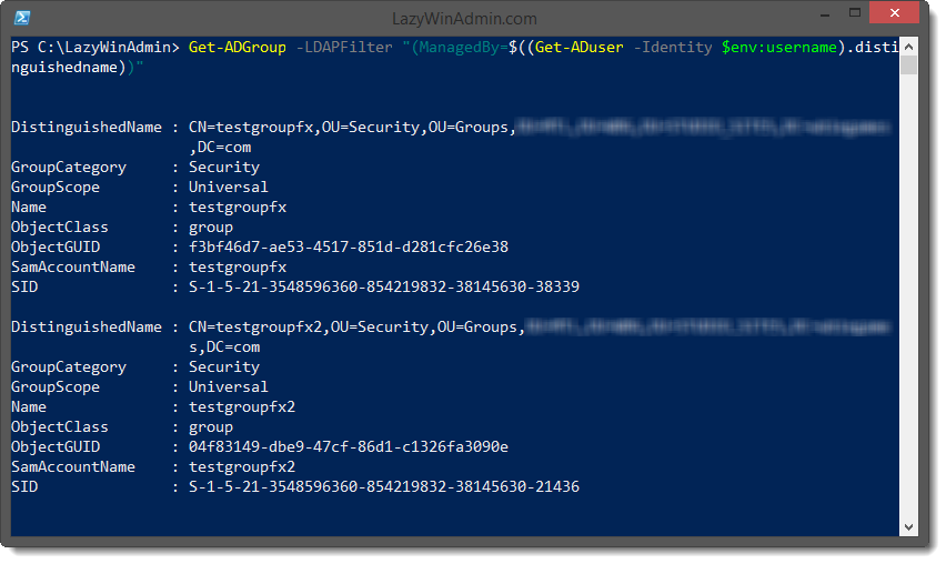 PowerShell/Active Directory - Retrieve Groups managed by a