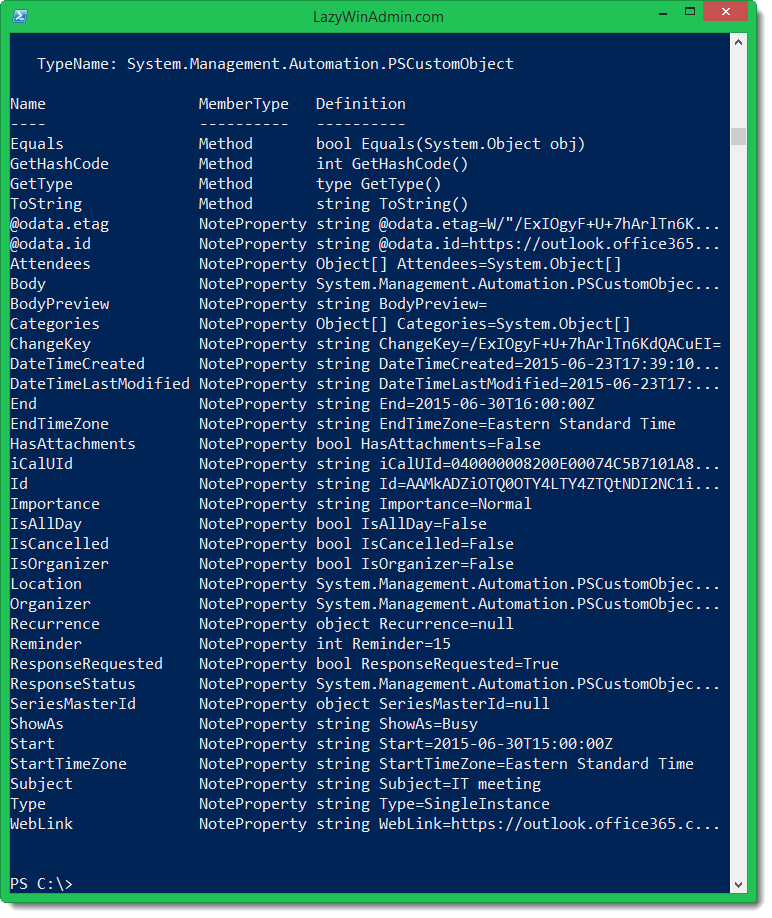 PowerShell - Using Office 365 REST API to get Calendar