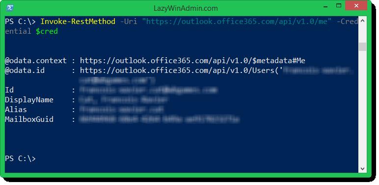 PowerShell - Using Office 365 REST API to get Calendar