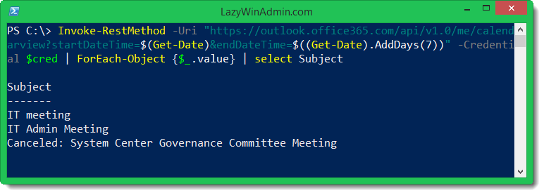 PowerShell - Using Office 365 REST API to get Calendar Events