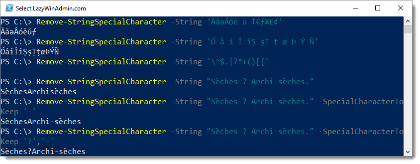 PowerShell - Remove special characters from a string using